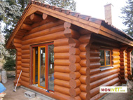The log cabin is already fitted with doors and windows