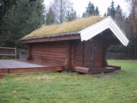 Sauna with green roof